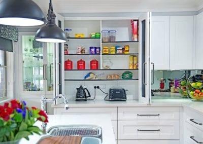 Classic black and white Hamptons kitchen pantry Narellan Vale