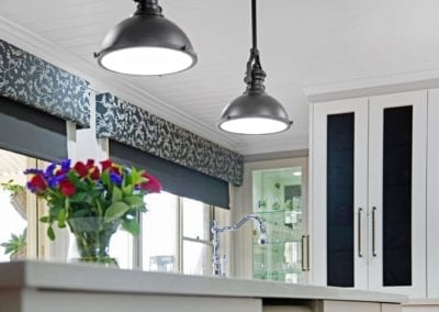Classic black and white Hamptons kitchen with hanging pendant lights Narellan Vale