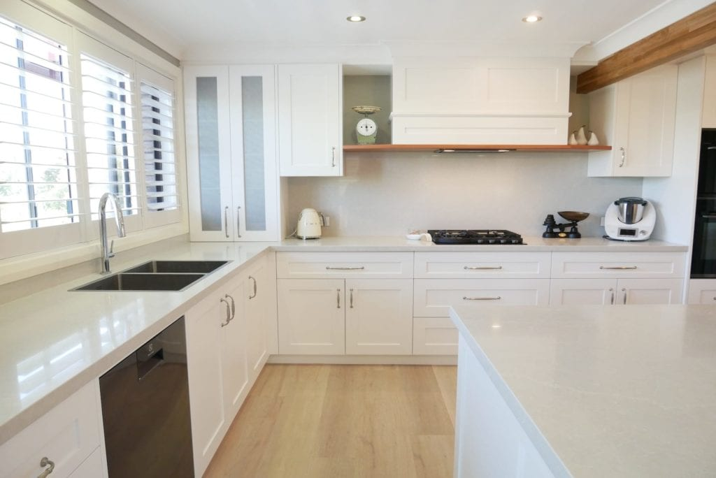 Contemporary Hamptons with timber highlights Barden Ridge with Dulux Lexicon Quarter strength for the cabinetry finish