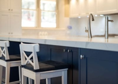 Divine two toned Hamptons kitchen island cabinetry Mittagong