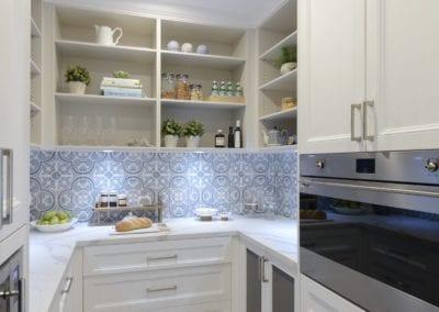 Light antique luxury kitchen butlers pantry shelving Kirkham