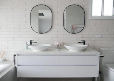 Modern white perfection Razorback bathroom vanity with double sink