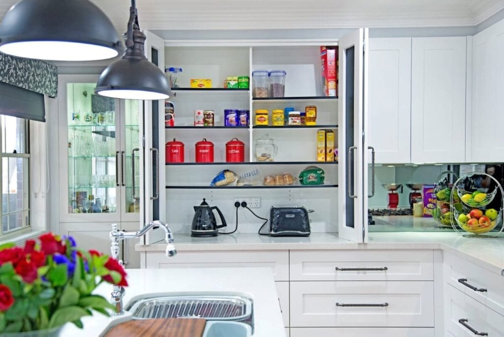 Classic black and white Hamptons kitchen with large pantry Narellan Vale