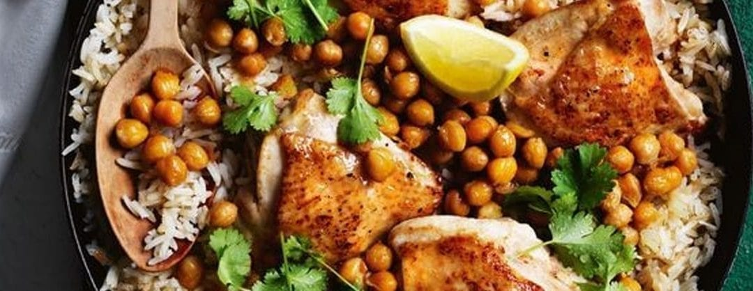 Curtis Stone's Chicken Rice Pilaf with Chickpeas and Brown Butter