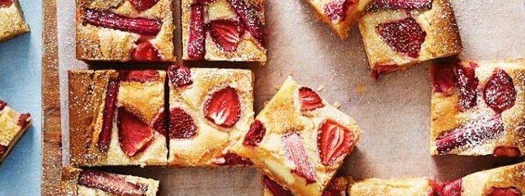 Fudgy Strawberry and Rhubarb Blondie