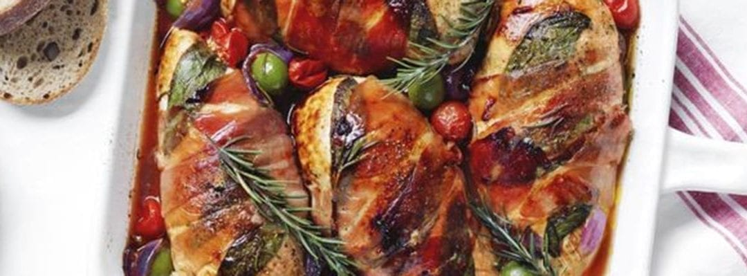 Baked Chicken with Sage and Prosciutto