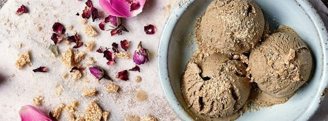 Rich Coffee Ice Cream with Rose and Sesame Ripple