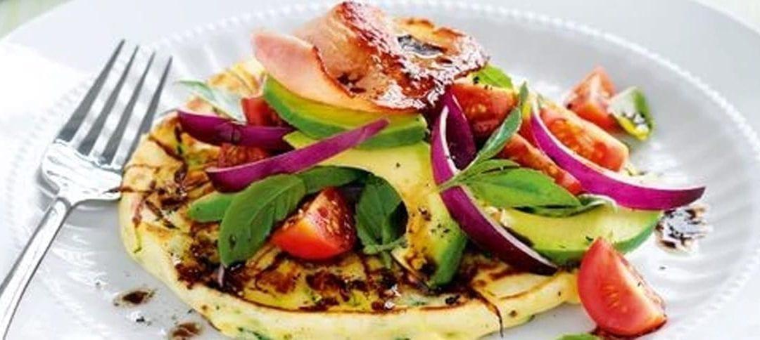 Zucchini Pancakes with Bacon & Avocado