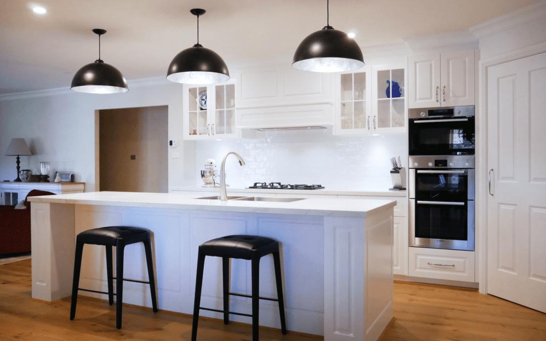 Elegant Black and White Hamptons Kitchen East Bowral