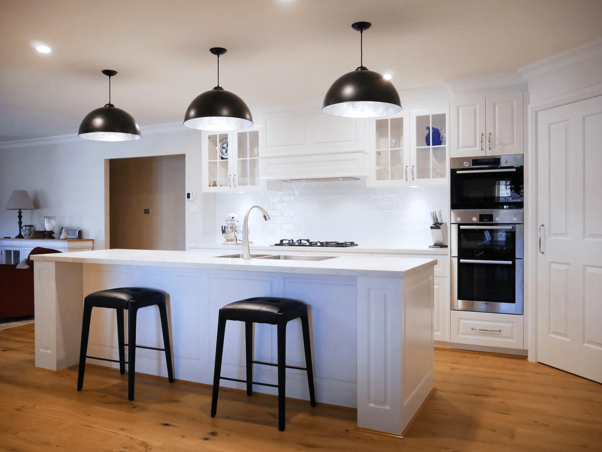 Elegant black and white Hamptons kitchen island East Bowral