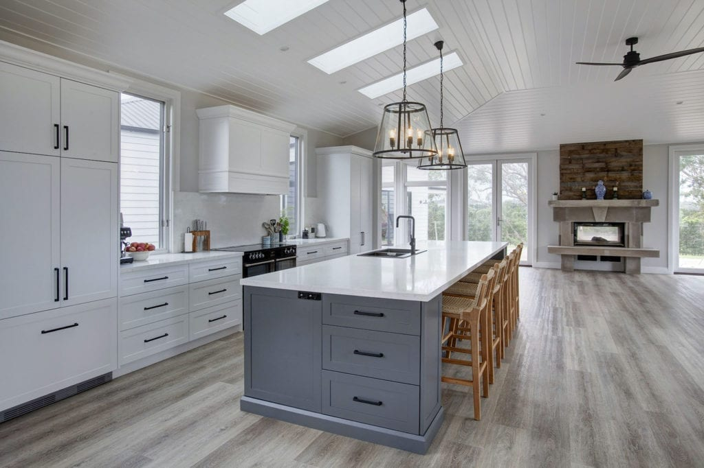 Stylish Country Hamptons Kitchen Moss Vale open plan living with integratedfridge